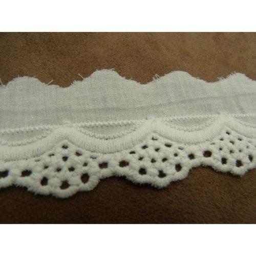 Broderie anglaise coton blanche, 4 cm/hauteur de broderie 2.5 cm
