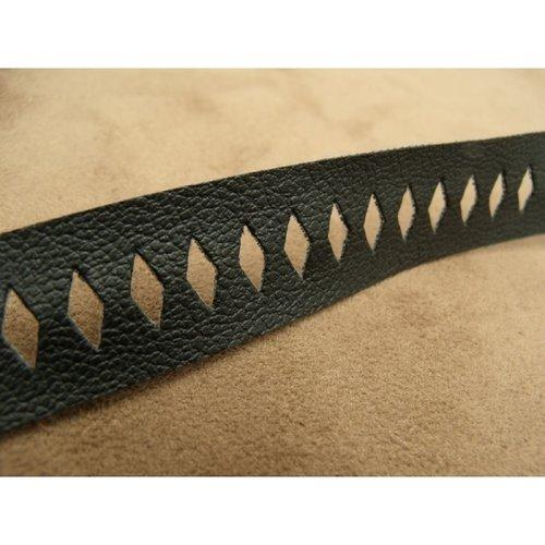 Ruban simili cuir/ skai noir motif losange,2 cm