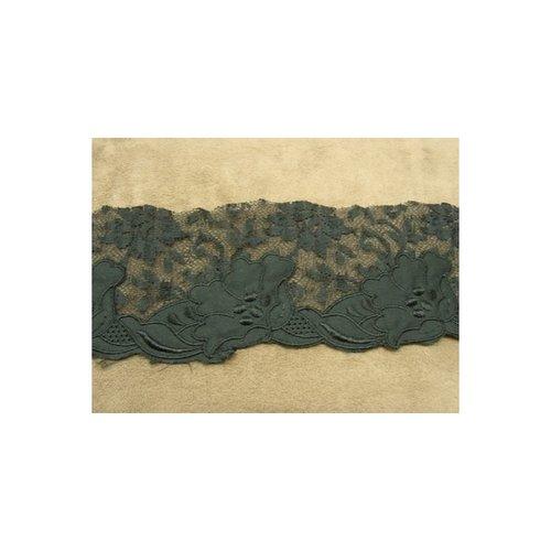 Dentelle en ruban brodée noir, 7 cm