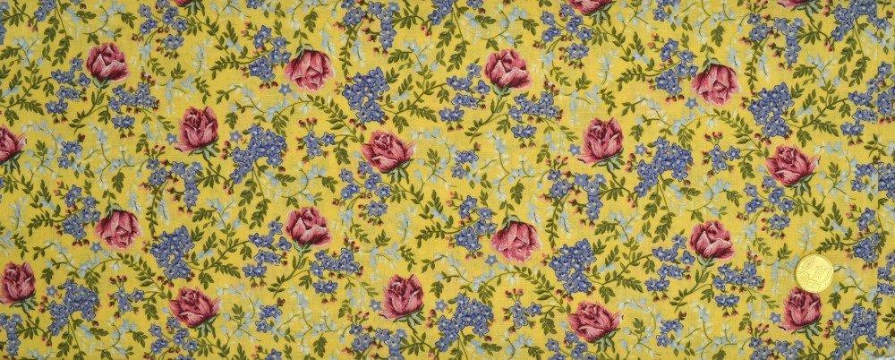 Coupon Tissu Patchwork  35cm X 55cm Roses et Myosotis