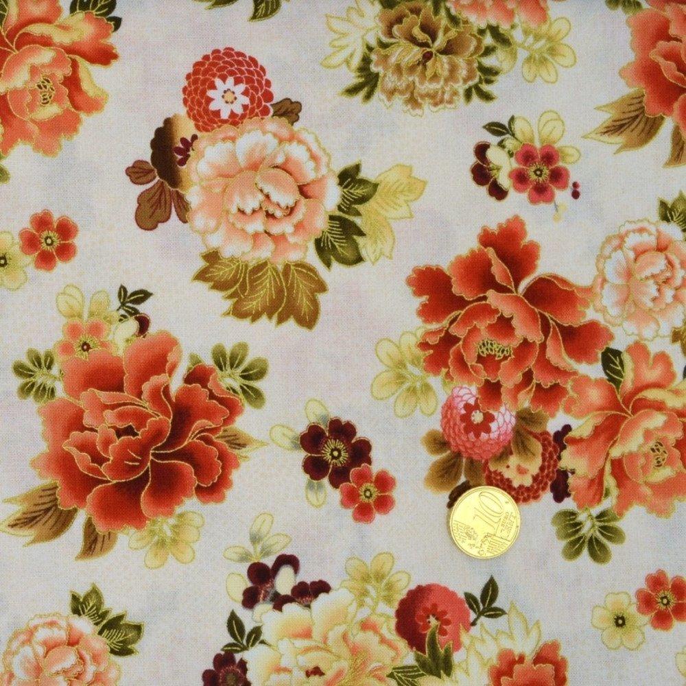 Coupon Tissu Patchwork 35cm X 55cm Bouquets de Pivoines de Pet B