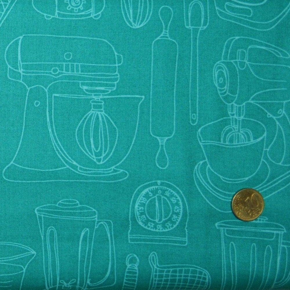 Coupon Tissu Patchwork 45cm X 55cm La Panoplie de Cuisine (bis) de Makower