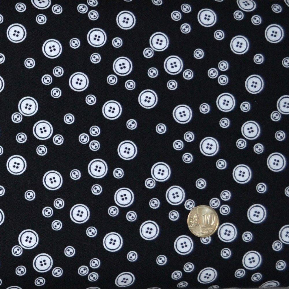 Coupon Tissu Patchwork 25cm X 55cm Les Boutons blancs sur fond noir de Makower