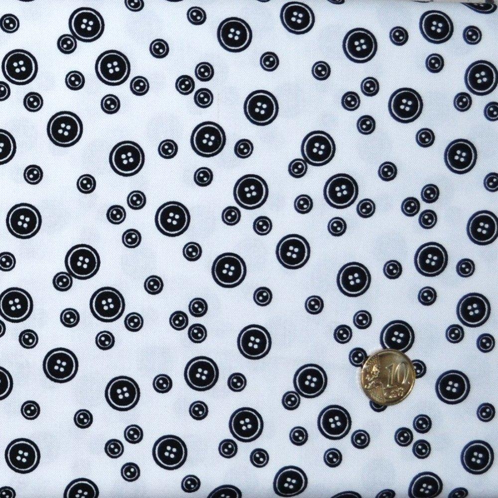 Coupon Tissu Patchwork 25cm X 55cm Les Boutons noirs sur fond blanc de Makower