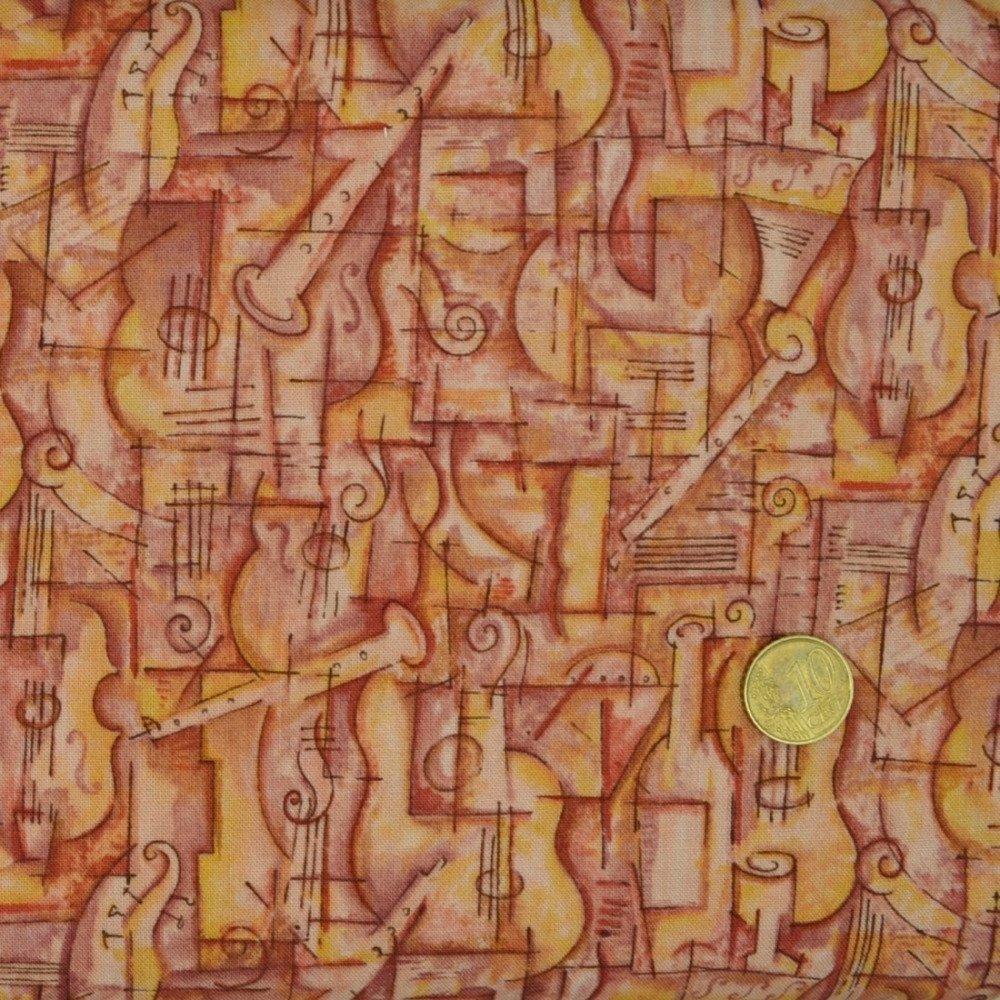 Tissu Patchwork 22cm X 110cm Les instruments de musique