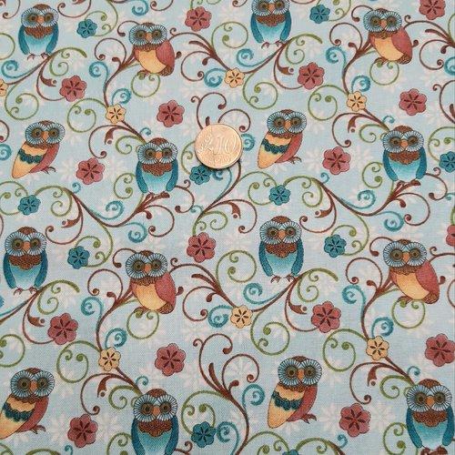 Coupon tissu loisirs créatifs 20cm x 110cm les petites chouettes