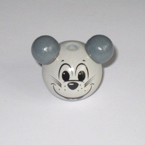 Perle 3D Tête de souris Perle en bois de 25 mm Vert d/'eau Gris clair