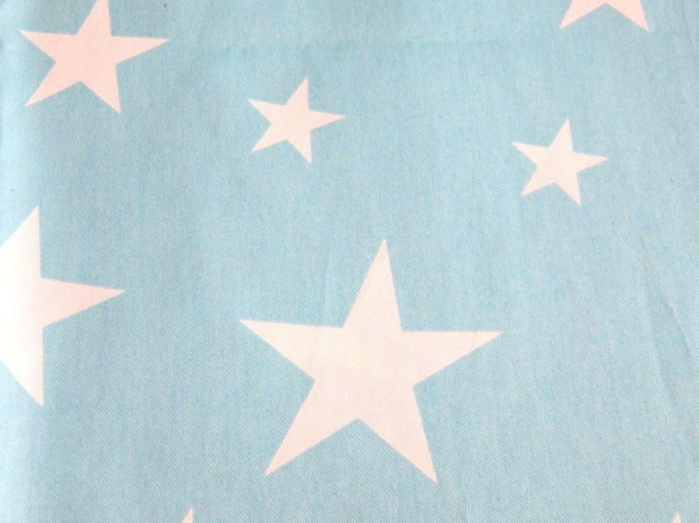 Tissu en coton étoiles blanche et turquoise 50 x 160 cm