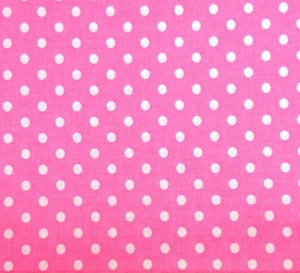 Tissu coton rose à pois blancs 150 x 50 cm