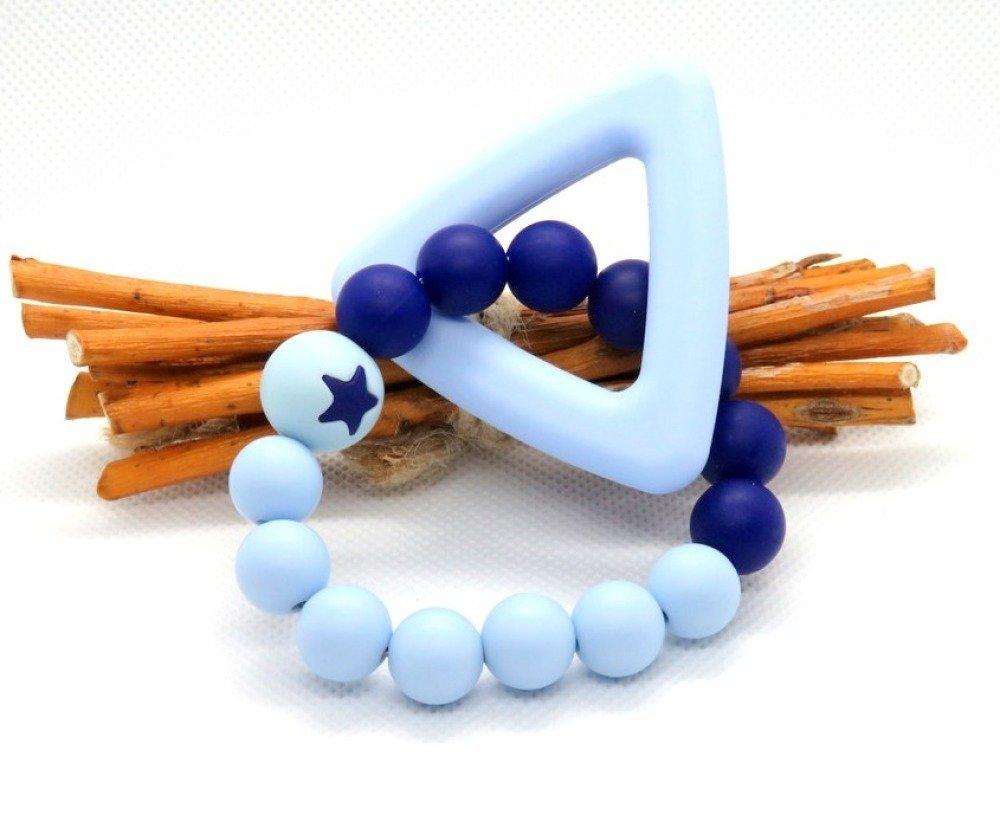 Kit hochet perles et anneau silicone bleu