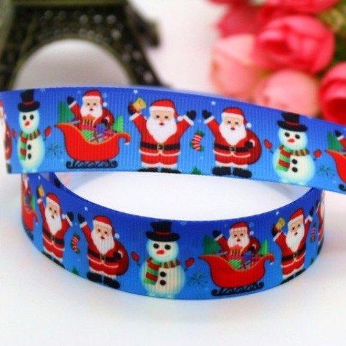 RUBAN GROS GRAIN Père Noël et bonhomme de neige ** 25 mm ** Vendu au mètre