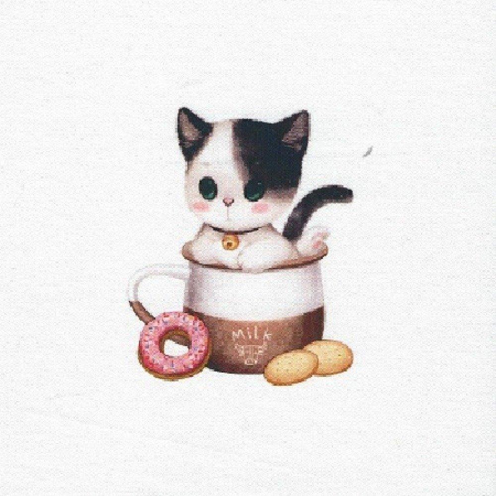 1 Coupon Tissu / Appliqué / Vignette - 12 x 12 cm - Motif Petit Chat