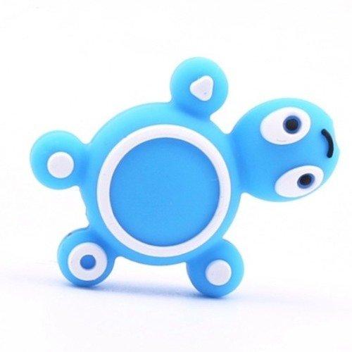 1 perle en silicone - tortue - bleu