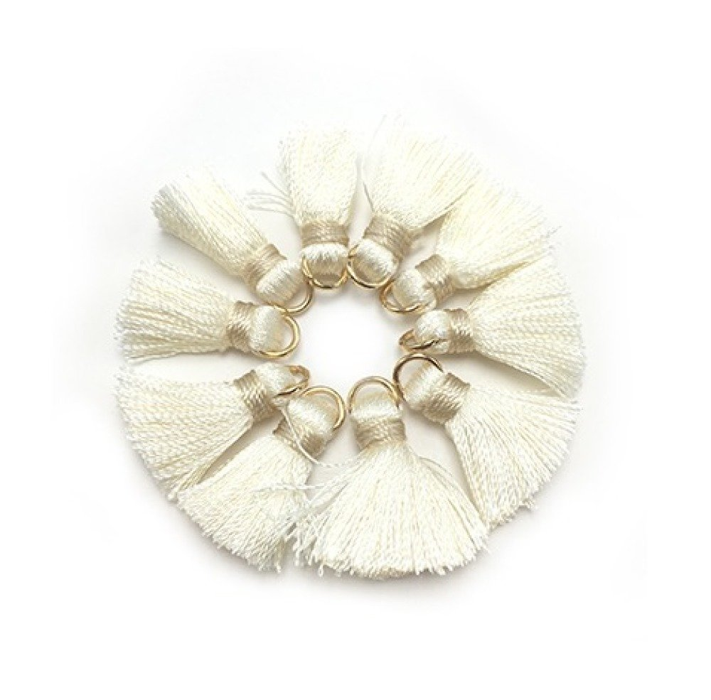 1 Pompon en Soie - 2 cm - Blanc