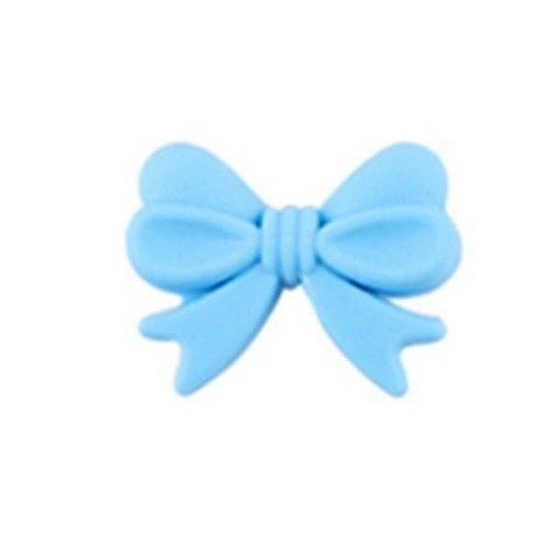 1 perle en silicone - noeud - bleu