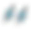 1 pendentif breloque - connecteur - tortue émaillé bleu - argentée
