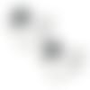 1 pendentif breloque - connecteur - coeur - couronne émaillé - strass -  argenté