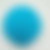 1 pompon fourrure lapin angora - 6 cm - turquoise