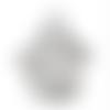 1 breloque pendentif patte de chat- strass - métal argenté