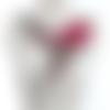1 col - encolure - plastron - dentelle brodée - fuchsia