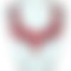 1 col - encolure - plastron - dentelle brodée - fleurs roses