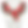 1 col - encolure - plastron - dentelle brodée - roses rouges