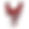 1 col - encolure - plastron - dentelle - fleurs roses rouges - cp-co-04