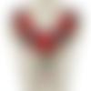 1 col - encolure - plastron - dentelle brodée - rose rouge