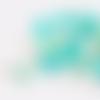 Lot de 10 perles lentilles en silicones - 12 x 7 mm - blanc -vert