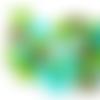 Lot de 10 perles lentilles en silicones - 12 x 7 mm - tons verts