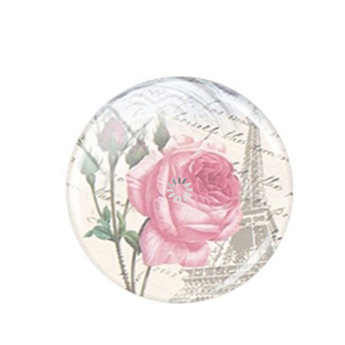 1 cabochon en verre - 25 mm - rose - tour eiffel
