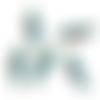 1 breloque perroquet bleu - email blanc - métal doré
