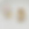 1 breloque oiseaux blanc - fleurs - perle nacrée - email - métal doré