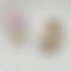 1 breloque oiseaux violet  - fleurs - perle nacrée - email - métal doré