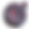 Feuille simili cuir imprimé - coeur rouge fond noir - 20 x 34 cm