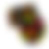 Feuille simili cuir imprimé - plume multicolore fond noir - 20 x 34 cm