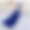 1 pompon soie - perle - bleu roi - mousqueton - 11 cm