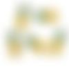 1 breloque - pendentif - ananas -  émaillée - métal doré