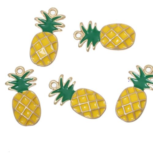 10 x Tibétain Argent Ananas Fruit Food 3D 20 mm charms pendentifs perles