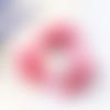 1 pendentif - breloque pompon satin - demi lune - rose foncé