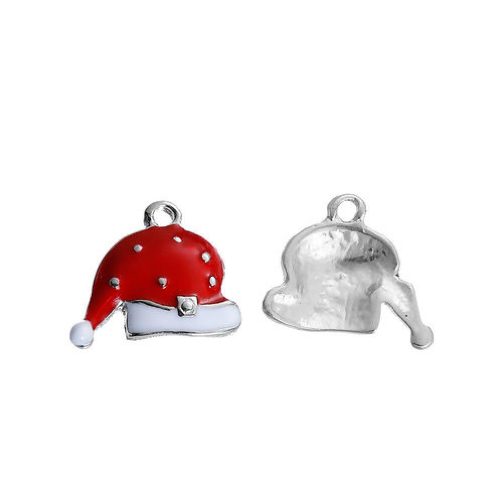 1 Breloque Bonnet Père Noel - Émaillée - Métal Argenté