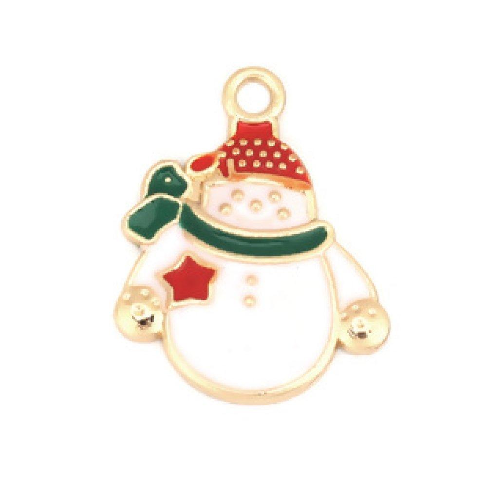 1 Breloque  Bonhomme de Neige - Noel - Émaillée - Métal Doré