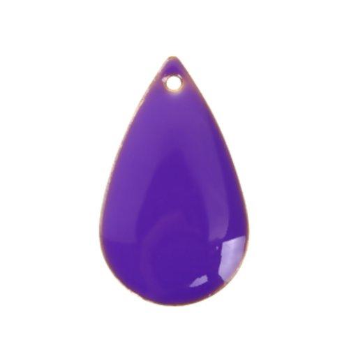 1 pendentif - sequin goutte émaille violet - laiton