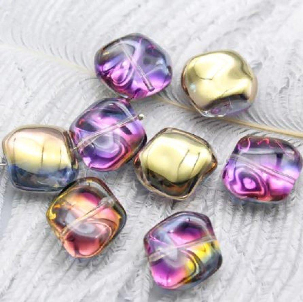 Lot de 5 Perles Tchèque en Verre - Jaune