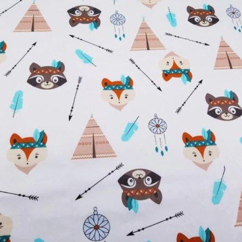 1 coupon de tissu renard - raton laveur - tipi - flèches - 160 cm x 40 cm