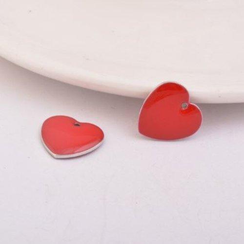 1 pendentif - sequin coeur - émaillé rouge - laiton