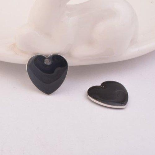 1 pendentif - sequin coeur - émaillé noir - laiton