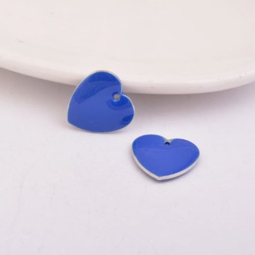1 pendentif - sequin coeur - émaillé bleu roi - laiton