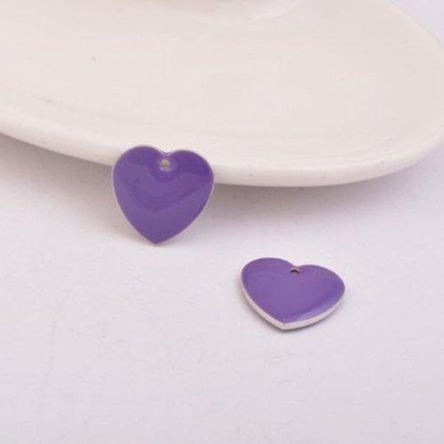 1 pendentif - sequin coeur - émaillé violet - laiton