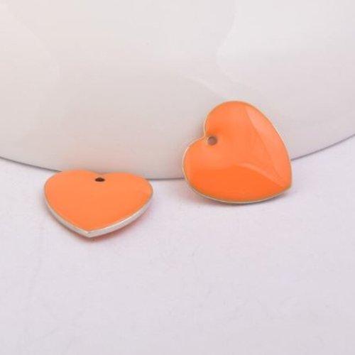 1 pendentif - sequin coeur - émaillé orange - laiton